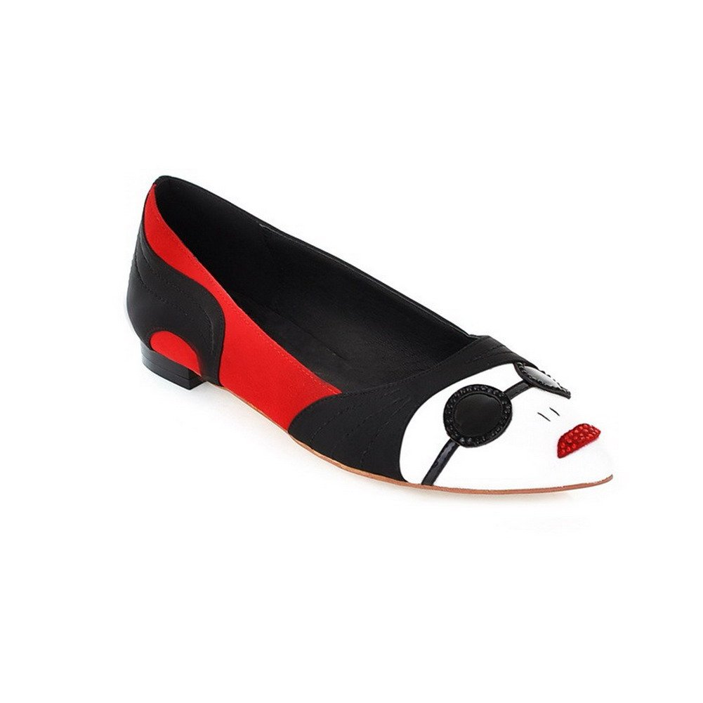AllhqFashion Women's Closed Pointed Toe Microfiber No Heel Assorted Colors Flats Sunglasses, Black, 7.5 B(M) US