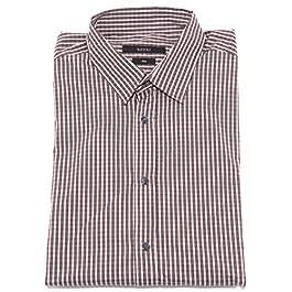 Gucci 36447 Camicia Uomo Slim Bianco Marrone Shirt Men Long Sleeve