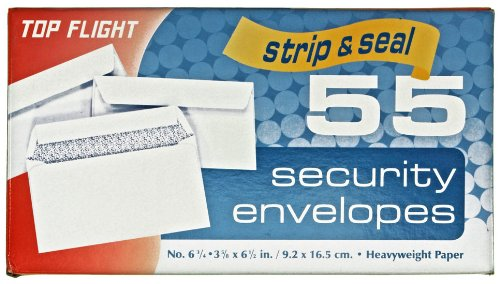 Top Flight Boxed Security Envelopes, Strip and Seal Closure, 3.75 x 6.75 Inches, White, 55 Envelopes per Box (6900117)