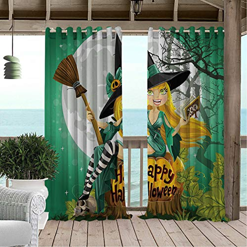Linhomedecor Patio Waterproof Curtain Witch Cheerful Smiling Girl in Halloween Costume on a Pumpkin Giant Moon Woodland Sea Green Multicolor Porch Grommet Printed Curtains 96 by 108 inch]()