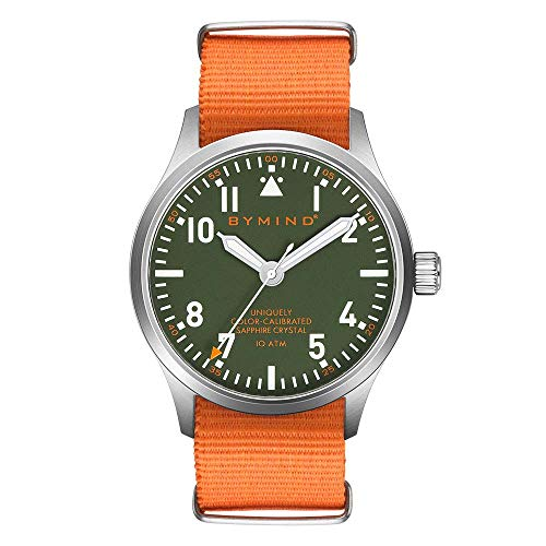 42mm Men's Stainless Steel Quartz Watch Sapphire Crystal 100 Meters Water Resistant (Fire Orange Nylon NATO Strap)