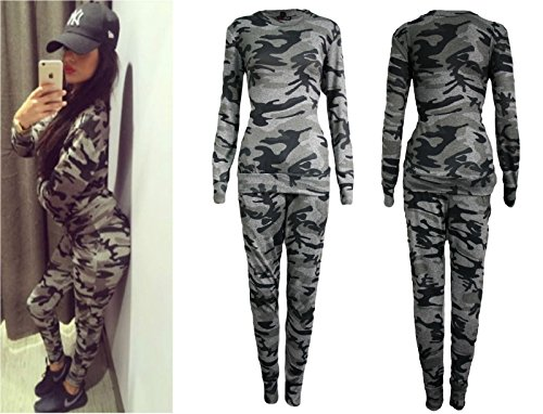 ee0b2996da8 Ladies Co-ord Stretch Army Camouflage Print Jogging Suit Set Womens  Tracksuit  Amazon.co.uk  Clothing