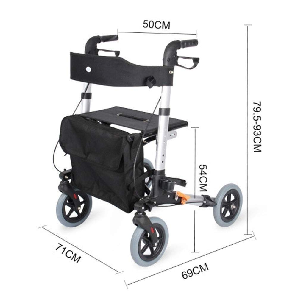 Drive Four Wheel Walker Rollator,Adjustable Handle Height Includes Basket with Lockable Brakes Seniors Auxiliary Walking Safety Walker by YL WALKER (Image #2)