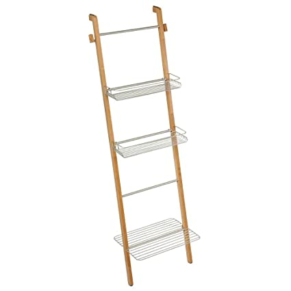 InterDesign Formbu Free Standing Bathroom Storage Ladder With Shelves For  Towels, Soap, Candles,