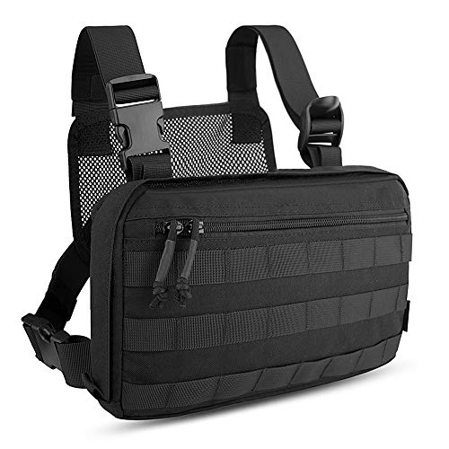 KRYDEX Chest Bag Tactical Combat MOLLE Pouch Radio Chest Harness Front Chest Pouch Black