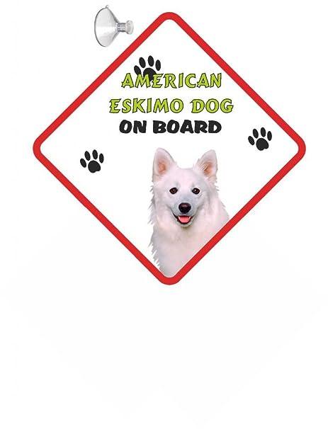 American Eskimo - Cartel para perros con ventosa de goma (10 ...