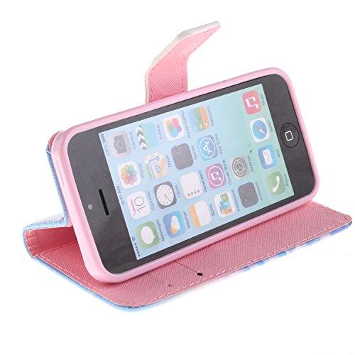 MOONCASE iPhone 5C Case Magnetverschluss [Painted Patterns] Leder Tasche Flip Case Cover Schutzhülle Etui Hülle Schale für iPhone 5C -LK07