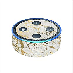 Skin Decal Vinyl Wrap for Amazon Echo Dot 2 stickers skins cover (2nd generation) Skins Stickers Cover / Marble White Gold Flake Granite