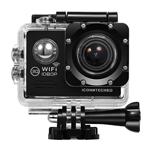 ICONNTECHS IT FULL HD 1080P Wasserfeste Sport-Actionkamera, 170° Weitwinkellinse, WiFi HDMI Camcorder, Gratis Zubehör für Helm, Tauchen, Radfahren und Extremsport