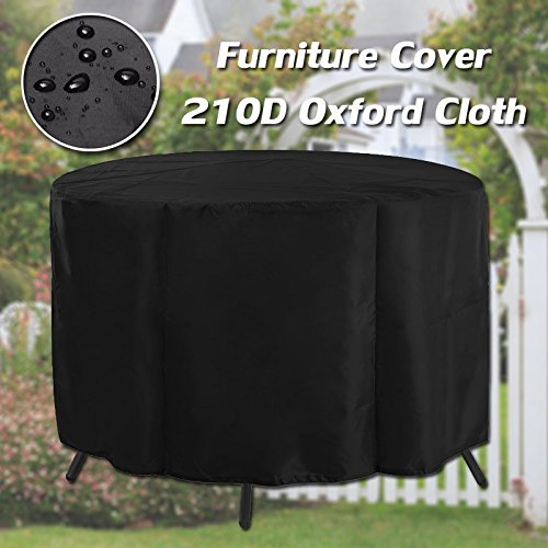 """GEMITTO Patio Round Table Cover Water-Resistant Chair Set Cover 210D Oxford Outdoor Furniture Cover for Garden 50.39""""x27.95"""