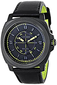 Citizen Men's BJ6475-18E Drive from Citizen Eco-Drive Ion-Plated Stainless Steel Watch with Black Leather Band