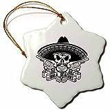 3dRose Carsten Reisinger - Illustrations - Cool Hola Beaches Mexican Sombrero Skull Guns Hipster - 3 inch Snowflake Porcelain Ornament (orn_261547_1)