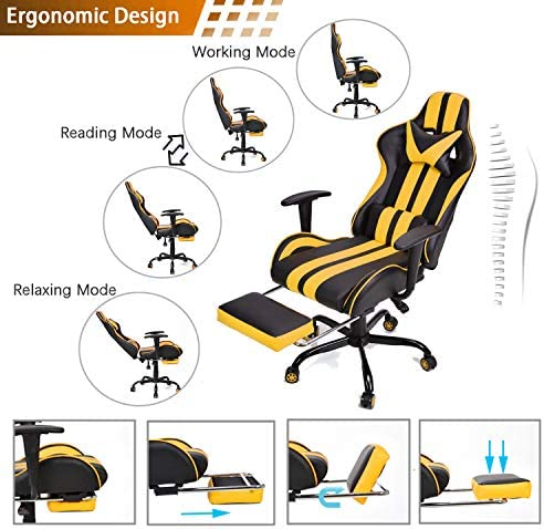 Video Gaming Chair,E-Sports Chair,Office Chair,PC Gaming Chair,Racing Style Massage Racing Chair with Height Adjustment, Lumbar Support,Headrest,Retractable Footrest(Racing Yellow) 51 2BAfqvJkWL
