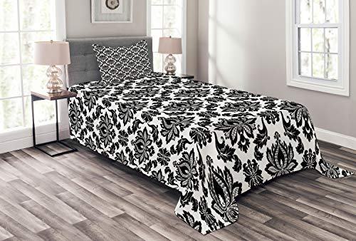 Lunarable Damask Bedspread, Damask Pattern Monochromic Classic European Venetian Style Flourishes Art, Decorative Quilted 2 Piece Coverlet Set with Pillow Sham, Twin Size, White Black