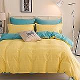 Yaheeda 4 Pcs Duvet Cover Quilt Cover Bedding Set bed Sheet Set,Yellow,2.2m/7ft
