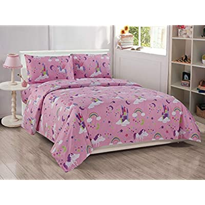 Kids Zone Home Linen 4pc Full Size Sheet Set Unicorn Castle Rainbow Stars Pink Purple Multi-Color for Girls/Teens New: Kitchen & Dining