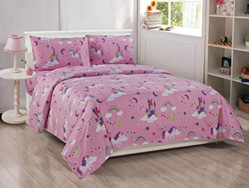 Better Home Style Pink Girls/Kids 4 Piece Sheet Set with Unicorns Castles and Rainbows in Magical Lands Includes Pillowcases Flat and Fitted Sheets # Unicorn Castle Lavendertle Lavender (Queen)
