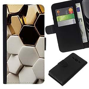 All Phone Most Case / Oferta Especial Cáscara Funda de cuero Monedero Cubierta de proteccion Caso / Wallet Case for Samsung Galaxy A3 // White Structure Hexagon Bees