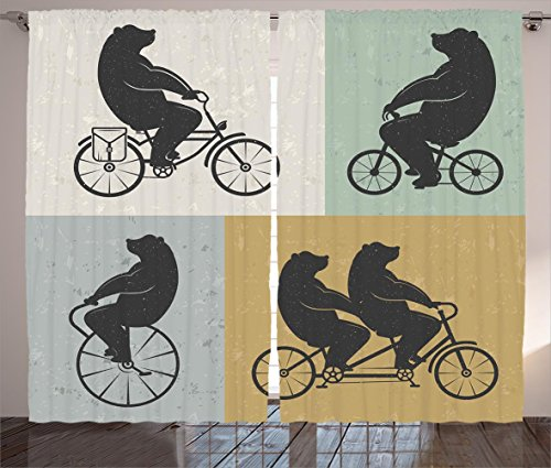 Vintage Decor Curtains by Ambesonne, Big Cute Bear on a Bike Bicycle Cycling Hipster Circus Life Outdoor Animal Enjoy, Living Room Bedroom Window Drapes 2 Panel Set, 108W X 90L Inches, Multi