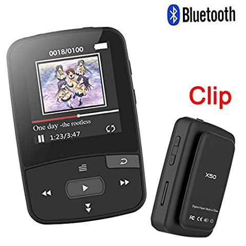 HONGYU RX50 8GB Clip Sport Bluetooth MP3 Player for Running with Clip+ MP3 FM Radio Record Lossless Sound Portable Music Player (Support up to 64GB- (Jogging Mp3 Player Bluetooth)