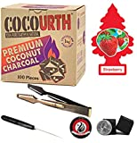 Cocourth Organic Natural Coconut Hookah Shisha Charcoal 100 Pieces 1kg Box Mini Cubes with Starbuzz Coal Tongs