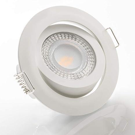 LED Einbaustrahler schwenkbar flach 3000K warmweiß 230V dimmbar Deckenstrahler Einbauleuchte Einbauspot, Farbe:Weiß, Einheit: