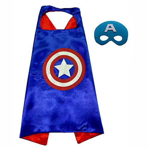 FASHION ALICE Superhero Superman CAPE & MASK SET Adult, Mens, Womens Halloween Costume Cloak Kids Girl And Boy Cape and Mask Costume for Child,Pretend Play,Dress Up,Parties (Captain America) - Female Mask For Sale