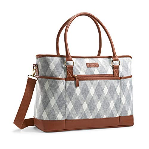 Fit & Fresh Travel Bag, Large Carry On Tote with Zipper for Work | Weekend |College| Travel & Commuting, Liza Plaid Grey