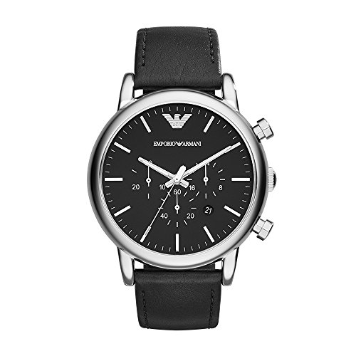 (Emporio Armani Men's AR1828 Dress Black Leather Watch)