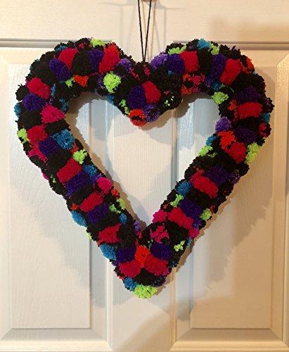 Yarn Wreath (Black and Neon Glitter Heart Yarn Pom Pom Valentine Romance Wreath)