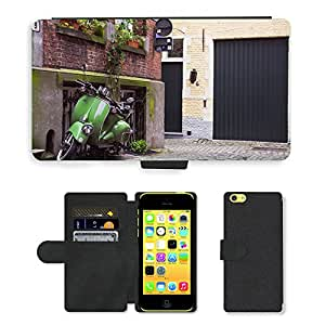 Hot Style Cell Phone Card Slot PU Leather Wallet Case // M00168987 Urban Scene Scooter Vehicle // Apple iPhone 5C