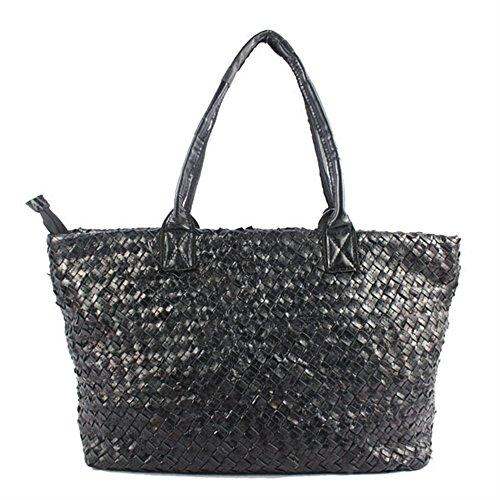 Bi Color Tote (BICOLOR Women Multicolor Woven Genuine Leather Tote Handbag Shoulder)