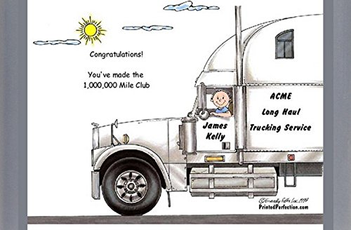 Personalized Friendly Folks Cartoon Side Slide Frame Gift: Truck Driver, 18 Wheeler - Male Great for long haul trucking, over the road, cross country trucker