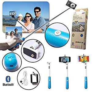 Selfie, Kool(TM) Azul Monopod Disparador para Autorretrato Extendible Bluetooth Inalámbrico Universal Bastón Disparador para iPhone 5/5s/5c, iPhone 4/4s, iPod Touch, Samsung, HTC, Motorola, LG, Sony, Camcorder/Cámara/Teléfono Móvil