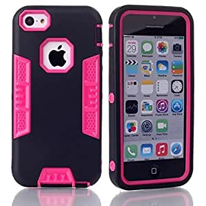 Topforcity E Hybrid High Impact Soft TPU + Hard PC Case Cover for Apple iPhone 5C with Screen Protector(black+rose)