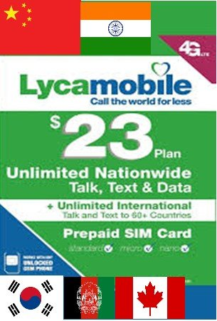 1ST MONTH FREE LYCA MOBILE Preloaded SIM with $23 Plan With International Call (Best Prepaid Mobile Plan For International Calls)