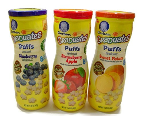 Gerber Graduates Puffs Cereal Snack Variety Pack - Blueberry, Strawberry-Apple, Sweet Potato - 1.48 oz Each by Gerber Graduates