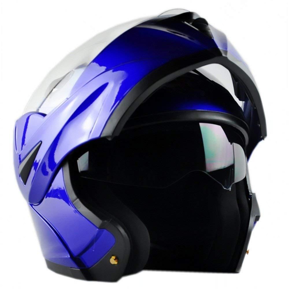 ILM 10 Colors Motorcycle Dual Visor Flip up Modular Full Face Helmet DOT (M, Red) FBA-808-ECE-R-L