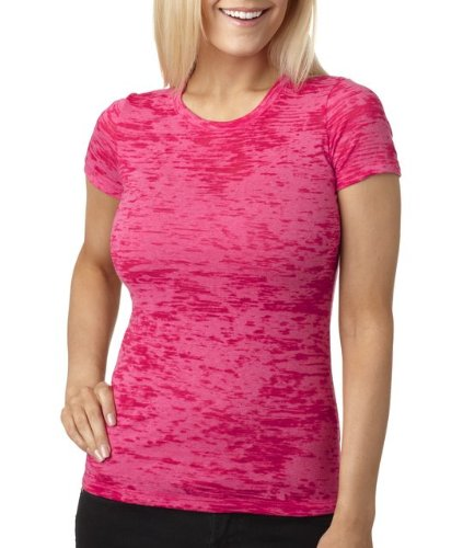 Next Level Baby Rib-Knit Crewneck Burnout Jersey T-Shirt, Shocking Pink, 2XL