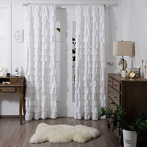 YJ YANJUN Shabby Chic Curtains for Bedroom Farmhouse White Ruffle Curtain Panels 84