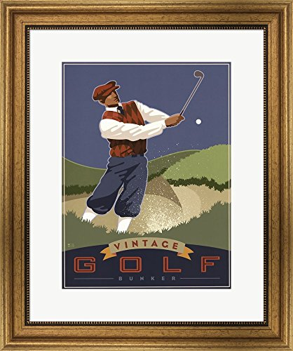 Vintage Golf - Bunker by Si Huynh Framed Art Print Wall Picture, Wide Gold