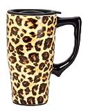 Spoontiques Leopard Print Travel Mug, Yellow