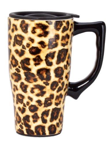 Spoontiques Leopard Print Travel Mug, Yellow (Giraffe Print Mug)