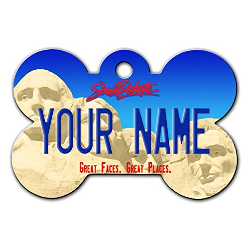 BleuReign(TM) Personalized Custom Name South Dakota State License Plate Bone Shaped Metal Pet ID Tag with Contact Information