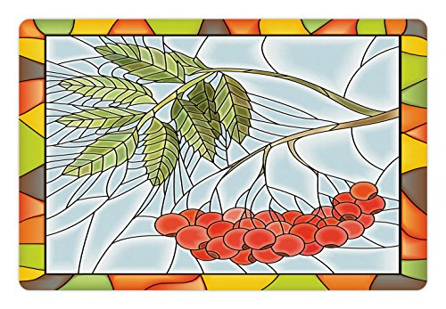 Ambesonne Christmas Pet Mat for Food and Water, Rowan Branch Motif on a Stained Glass Frame Noel Season Berries Winter Theme, Rectangle Non-Slip Rubber Mat for Dogs and Cats, - Motif Stained Glass