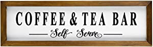 43LenaJon Coffee and Tea Bar Rustic Wood Wall Sign,Hanging Wood Sign with Frame,Welcome Sign Decor for Garden,Personalized Text Saying Party Funny Wooden Farmhouse Quotes Label