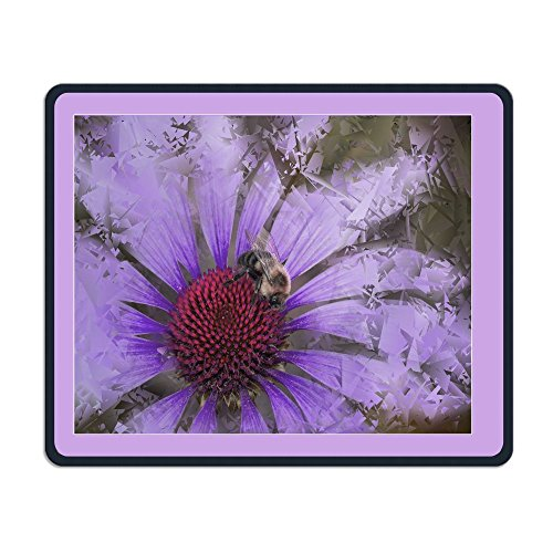 Purple Echinacea Of Bee Framed 3d Mouse-pads Electronic Laptop Non Slip Rubber Travel Computer Gaming Mouse Pads Cover 25cm/9.8in X 30cm/11.8in