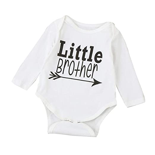 94bfe4c473d Amazon.com  0-18 Months Newborn Baby Girls Boys Long Sleeve Romper Cotton  Tops Letter Little Brother Sister Play Bodysuit  Clothing