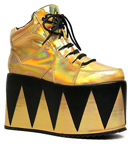 YRU Shoes QOZMOPOLITAN Metallic Zigzag Flatform Sneaker