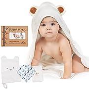 Large Hooded Baby Towel 100% Organic Bamboo | Softest Bath Towel + Washcloth Set for Girls & Boys | Perfect Size for Infants & Toddlers | Bonus 1 Bandana Drool + 1 Bamboo Bath Mitt